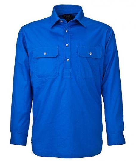 Ritemate - Men's half Button Pilbara Shirt Cobalt Blue