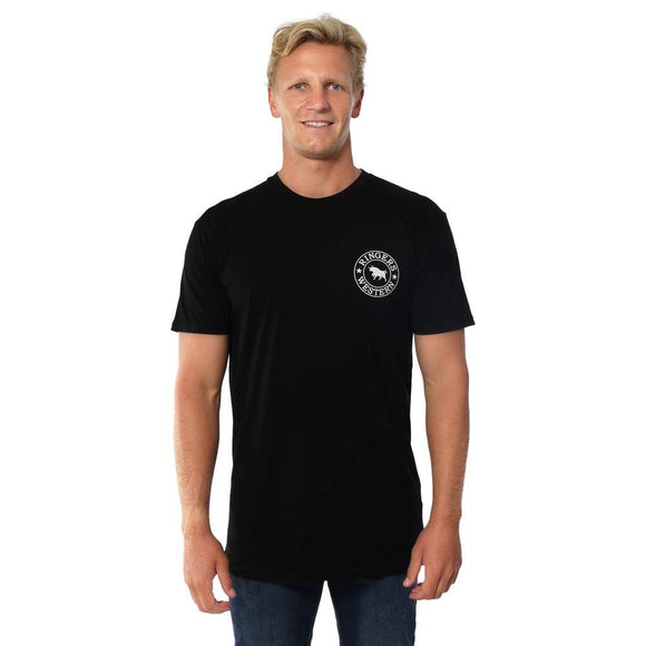 Ringers Western - Signature Bull Mens Original Fit T-Shirt - Black with White Print