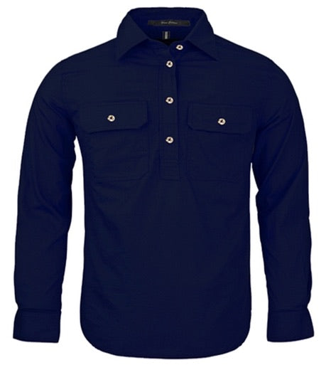 Kids L/S French Navy Ritemate Work Shirt.