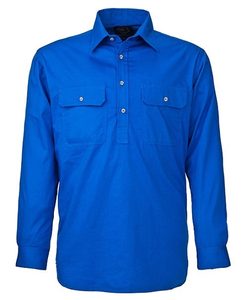 Ladies Closed Front Pilbara L/S Shirt Cobalt Blue.