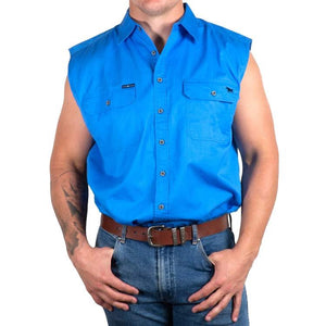 Rob Roy Mens Sleeveless Full Button Work Shirt Blue