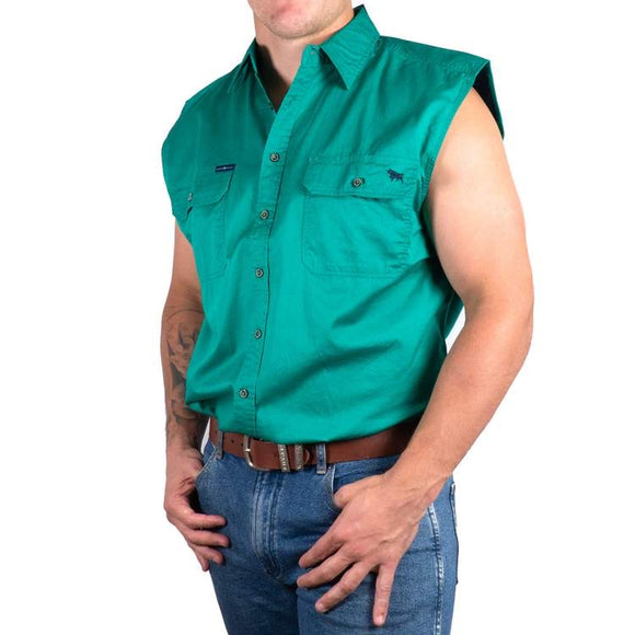 Ringers Western - Rob Roy Mens Sleeveless Full Button Work Shirt Green