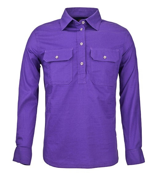 Ladies Closed Front Pilbara L/S Shirt Purple.