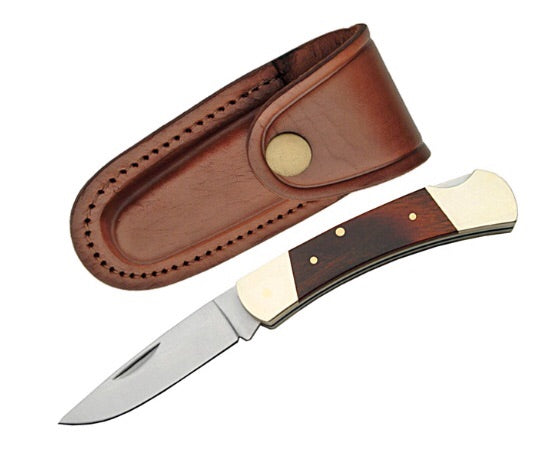 Kickback knife with leather pouch A148