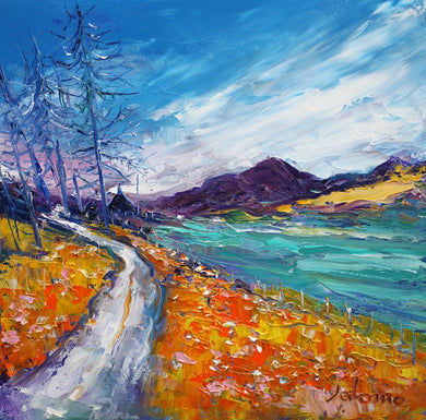 John Lowrie Morrison OBE 'A big sky in an Angus glen' oil on canvas, 30 x 30 cm Light gold scoop frame £2600