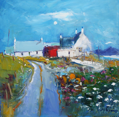 John Lowrie Morrison OBE 'Farm steading Kiloran Bay Isle of Colonsay' oil on canvas 40 x 40 cm warm silver gilt scoop frame £3400