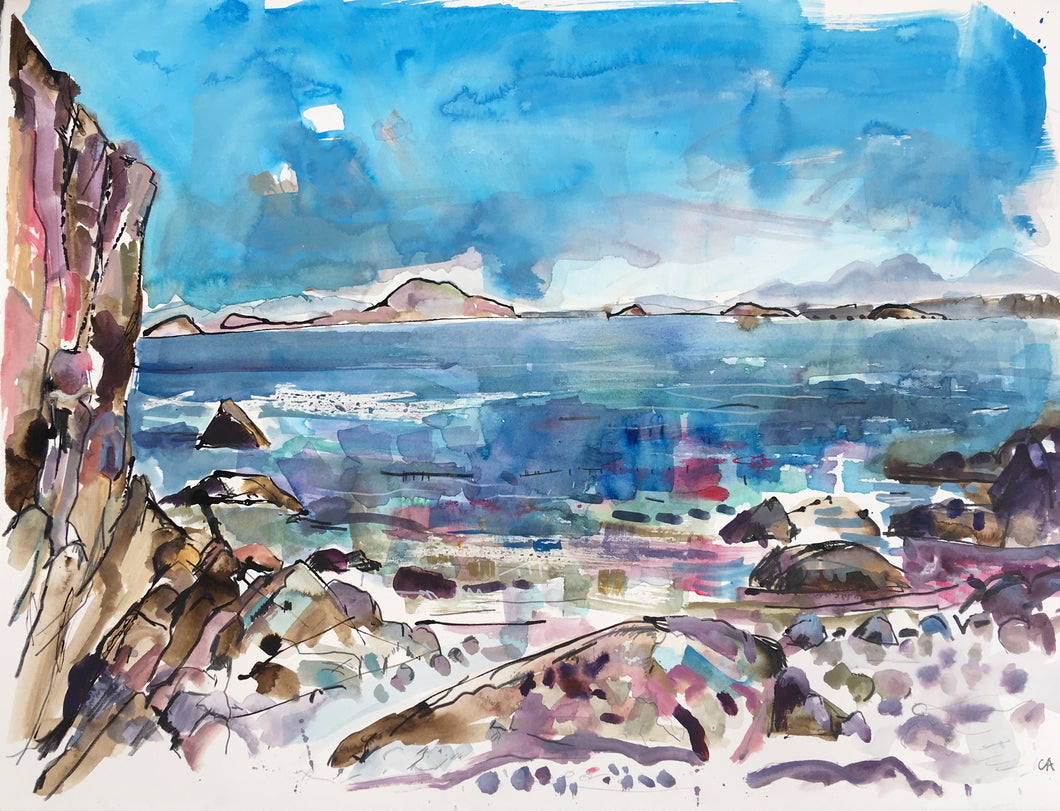 Clare Arbuthnott 'Jura from St. Colomba's Bay, Iona'