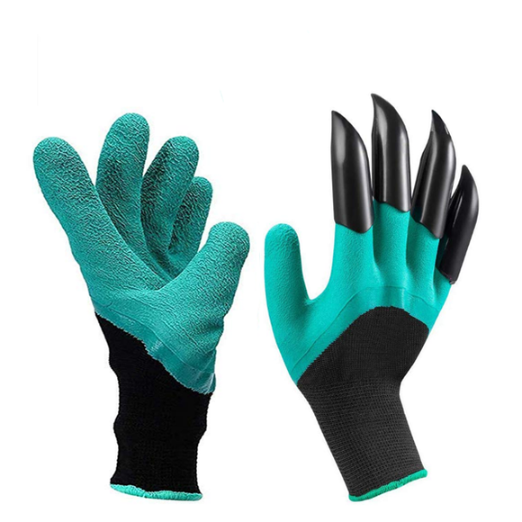 Garden Claw Gloves (Garden Digging & Planting with 4 ABS Plastic Claws Gardening Work Glove) - Gardenershopping