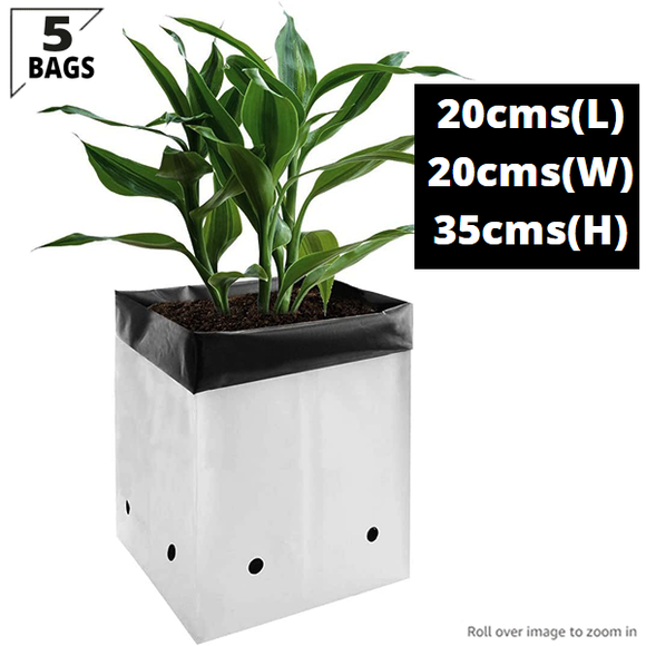 LDPE Poly Grow Bags For Plants (5 POLY GROW BAGS- 20*20*35 Cms)- Size 1