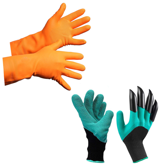 Latex Gloves Orange & Garden Claw Gloves - Gardenershopping