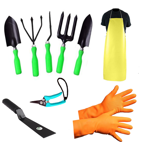 Green Garden Tools Kit (9 Tools)- Weeder, Trowel Big, Trowel Small, Cultivator, Fork, Pruner, Khurpa, Orange Gloves, Apron - Gardenershopping