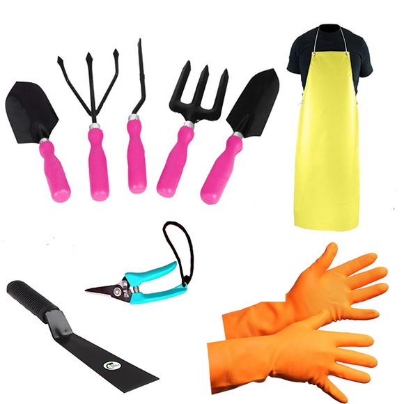 Pink Garden Tools Kit (9Tools)- Weeder, Trowel Big, Trowel Small, Cultivator, Fork, Pruner, Khurpa, Orange Gloves, Apron - Gardenershopping