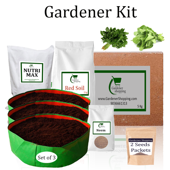 Circular Grow Bags Gardener Kit Starter recommend- Amaranthus, Spinach (Buy Complete Grow kit/ Growing kit Online India) - Gardenershopping