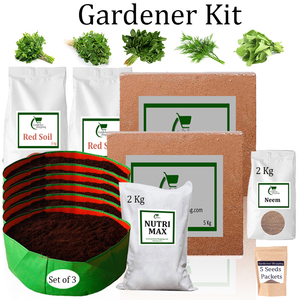 Circular Grow Bags Gardener Kit Value Added- Parsley, Methi, Amaranthus, Dill, Spinach (Buy Complete Grow kit/ Growing kit Online India)