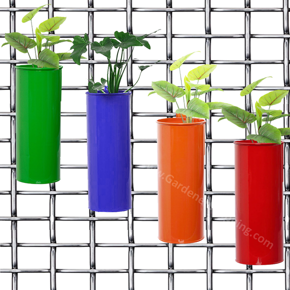 Set of 4- Fife pots- Cylindrical Railing Planters- Green, Purple, Orange And Red - Gardenershopping