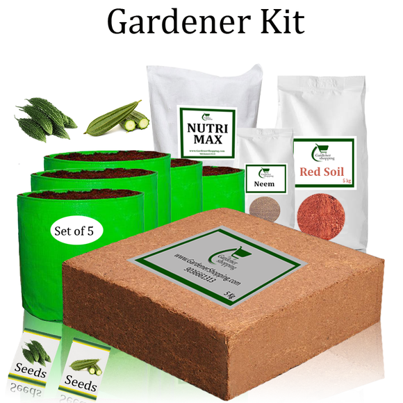 Green Grow Bags Gardener Kit Starter recommend- Bitter Gourd And Ridge Gourd (Buy Complete Grow kit/ Growing kit Online India)