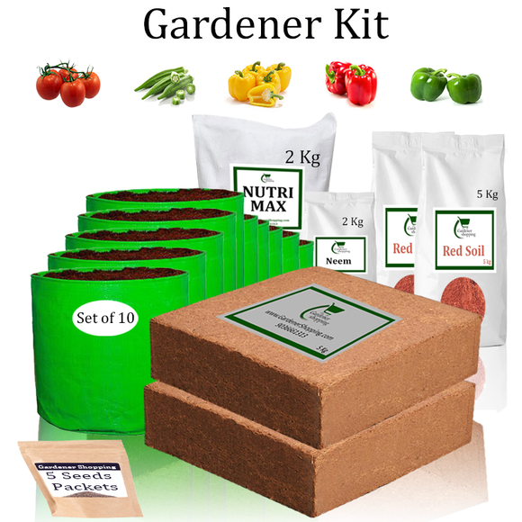 Grow Bags Gardener Kit Value Added- Round Tomato, Ladies Finger, Capsicum Yellow, Capsicum Red, Capsicum Green (Buy Complete Grow kit/ Growing kit Online India) - Gardenershopping