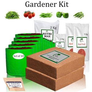 Grow Bags Gardener Kit Value Added- Green Chilli Small, Round Tomato, French Beans, Capsicum Green, Ladies Finger (Buy Complete Grow kit/ Growing kit Online India) - Gardenershopping