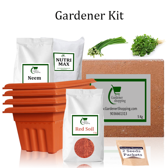 Plastic Pots Gardener Kit Starter recommend- Garlic Chives And Methi (Buy Complete Grow kit/ Growing kit Online India) - Gardenershopping