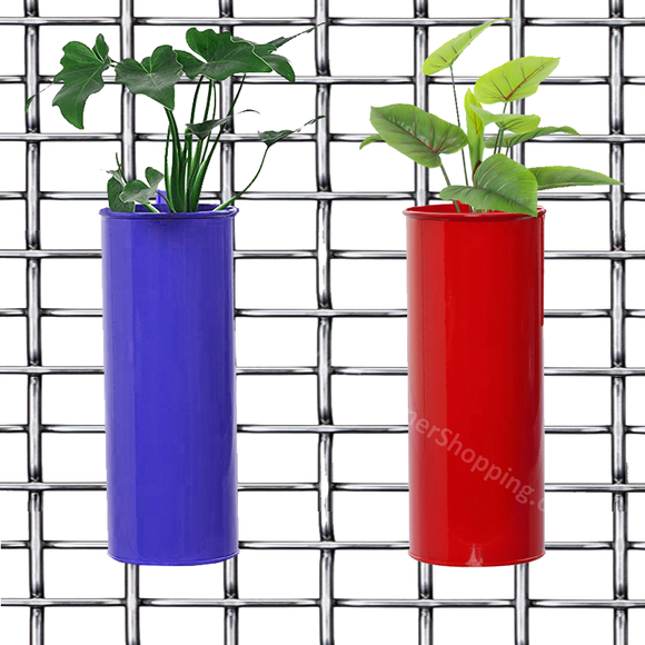Set of 2- Fife pots- Cylindrical Railing Planters- Purple And Red - Gardenershopping