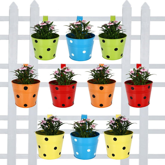 Polka Dots Balcony Round Railing Planters- Yellow, Red, Blue, Orange & Green (10 BINGO POTS)