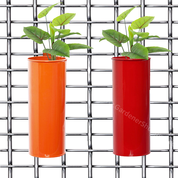 Set of 2- Fife pots- Cylindrical Railing Planters- Orange And Red - Gardenershopping