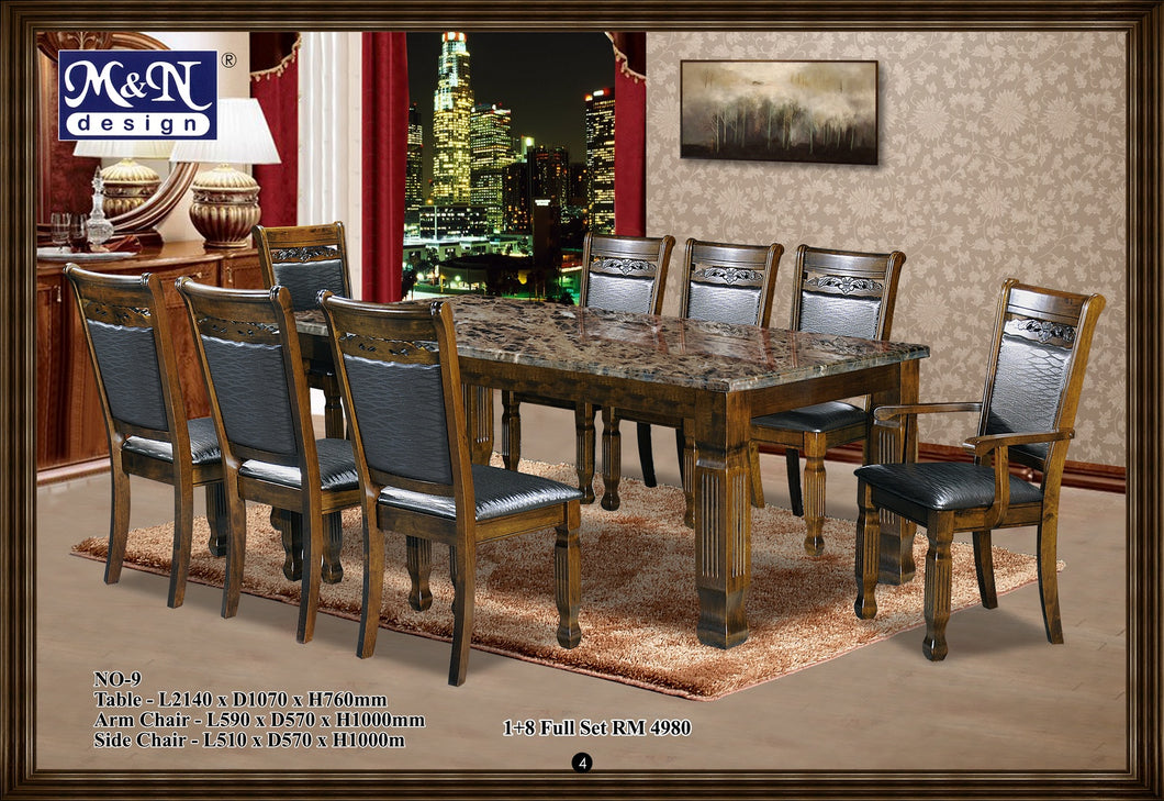 M&N -Wood Dining Table Set - Rectangle - No-9 (1+8)