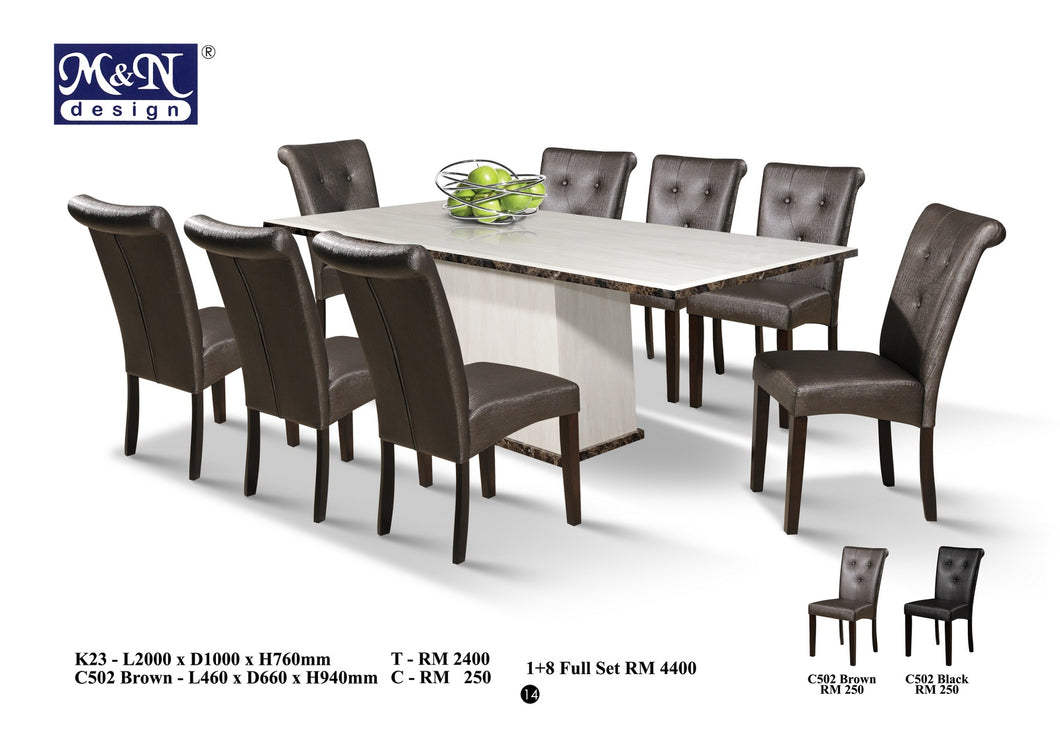 M&N - Marble Dining Table Set - Rectangle - K23 - C502-Brown