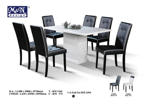 M&N - Marble Dining Table Set - Rectangle - K6+C9501B(1+6)