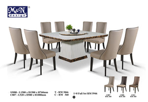 M&N-Dining Table-Square(1+8)