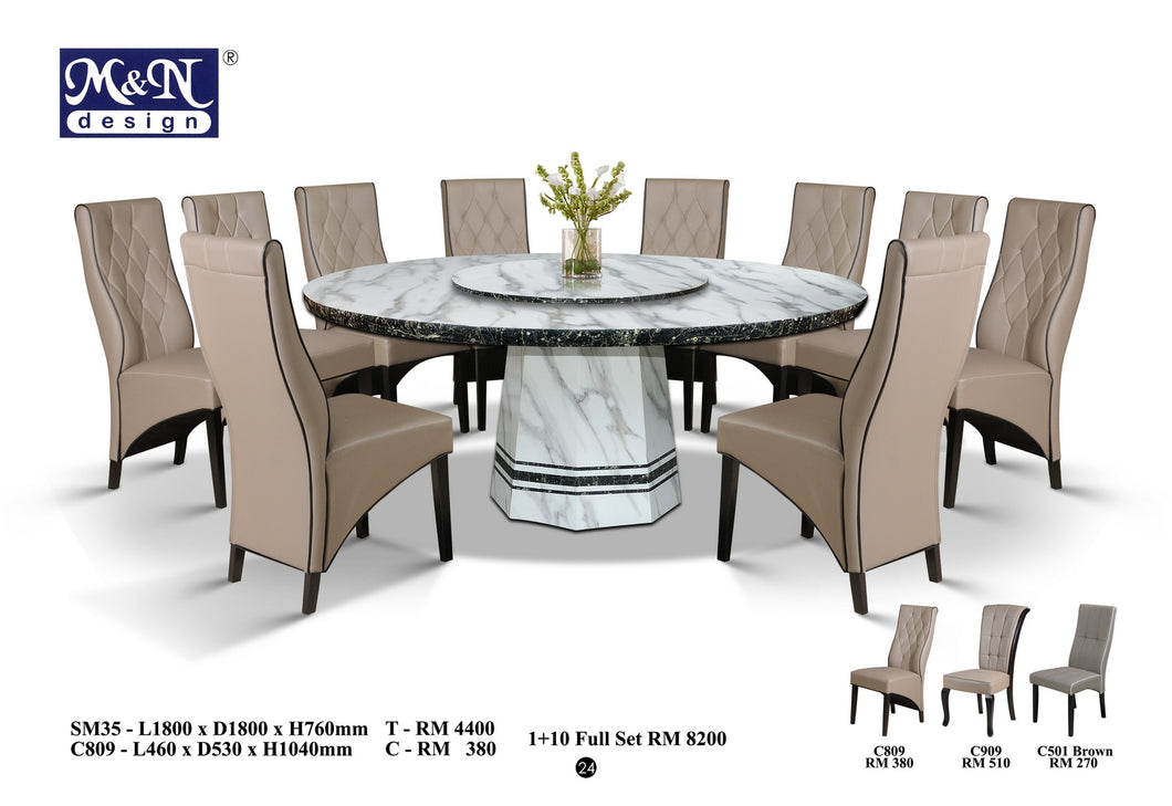 M&N-Marble Dining Table-Round(1+10)