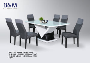 Kenitti Sofa Design Premium Store-Glass Top Dining Table Set