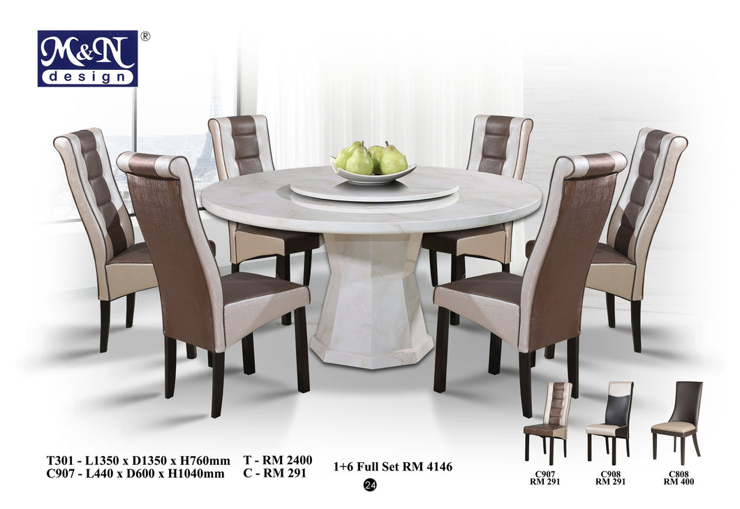 Round Marble Dining Table Set T301 1 6 Full Set Kenitti Furniture