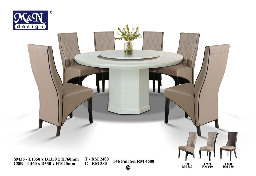 MN-MARBLE DINING TABLE-Round - SM36