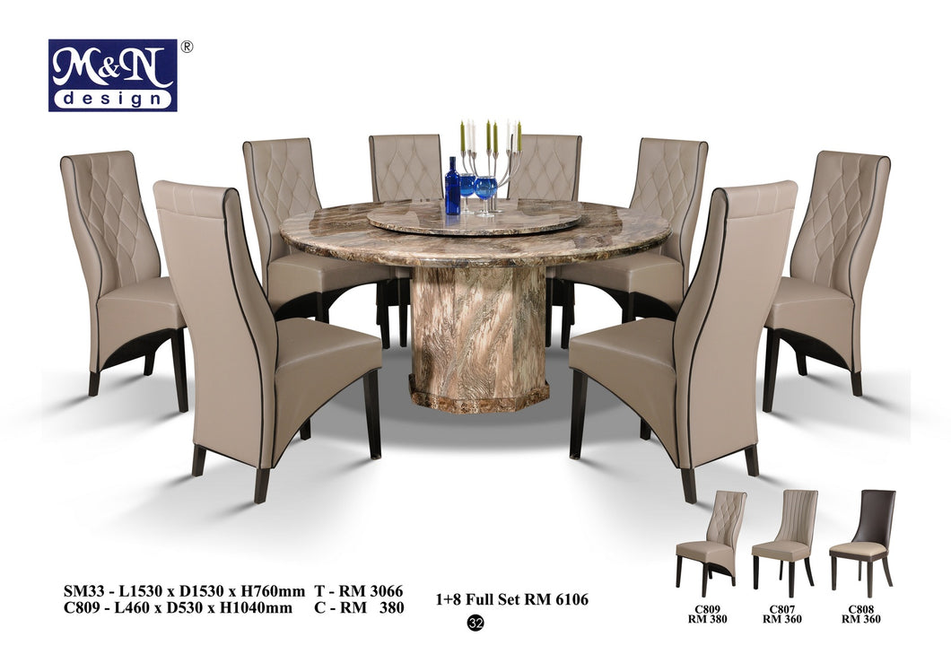 M&N - Marble Dining Table Set - Round - SM33 + C809 (1+8)