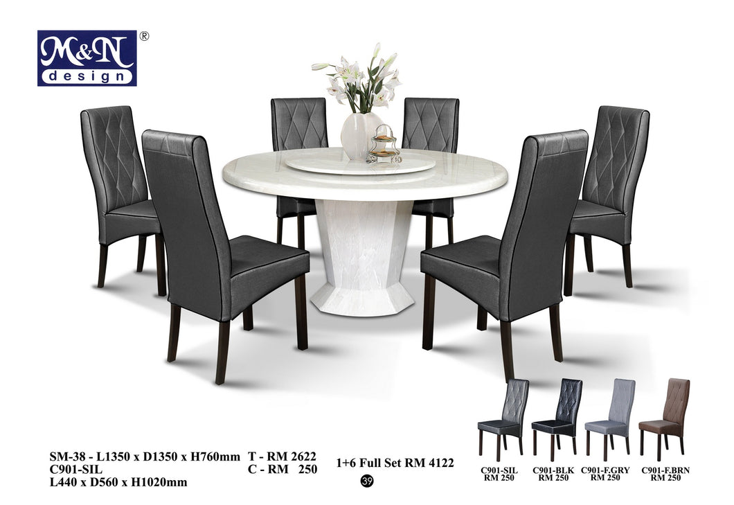 MN-MARBLE DINING TABLE-ROUND-SM38