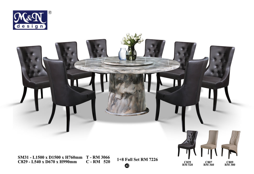 MN-MARBLE DINING TABLE-ROUND-SM31