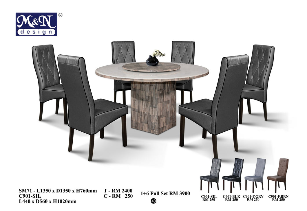 MN-MARBLE DINING TABLE-ROUND-SM71