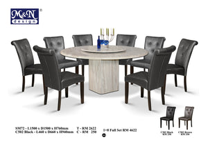 MN-MARBLE DINING TABLE-ROUND-SM72