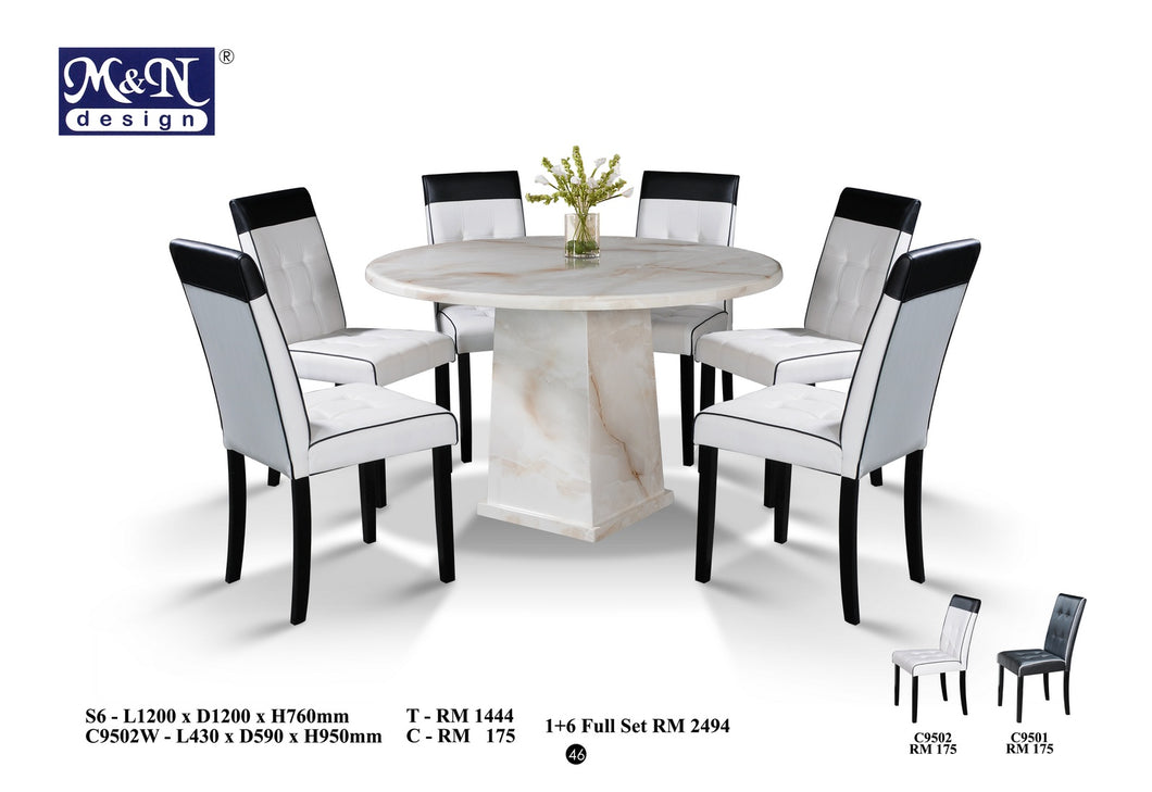 M&N - Marble Dining Table Set - Round - S6 +C9502W (1+6)