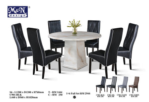 MN-MARBLE DINING TABLE-ROUND-S6
