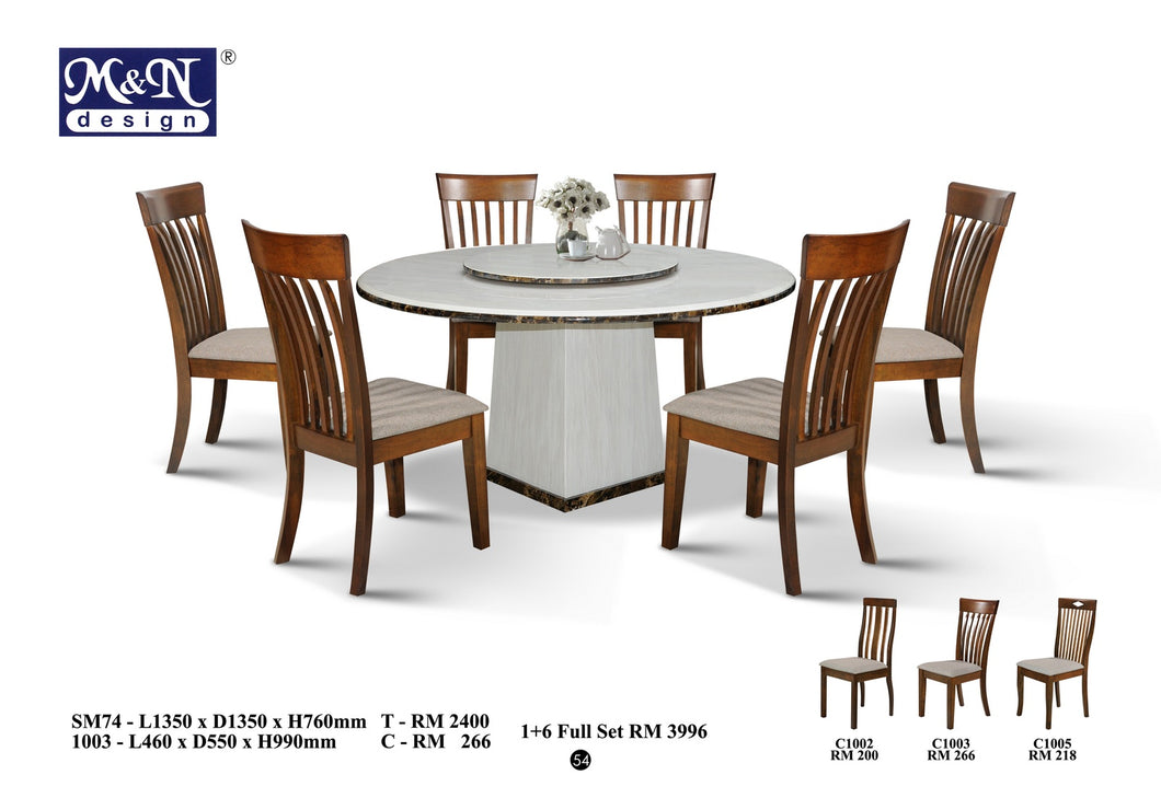 MN-MARBLE DINING TABLE-ROUND-SM74