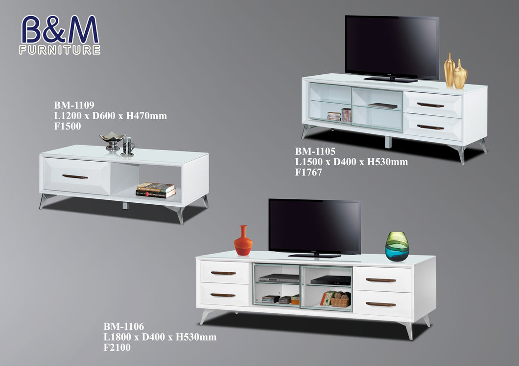 Living Hall TV Cabinet Collection - White