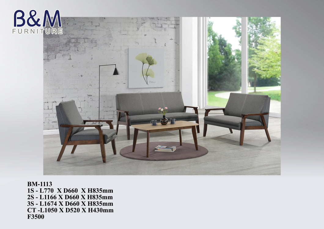 Wood Sofa with Fabric Seating set - BM-1113