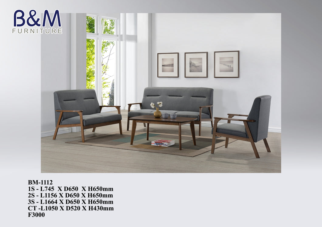 Wood Sofa with Fabric Seating set - BM-1112