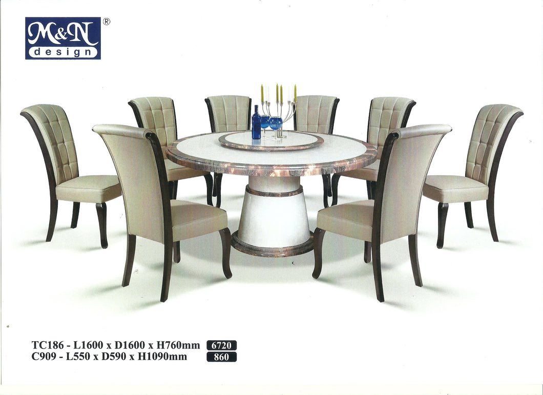 MN-MARBLE DINING TABLE-ROUND-TC186