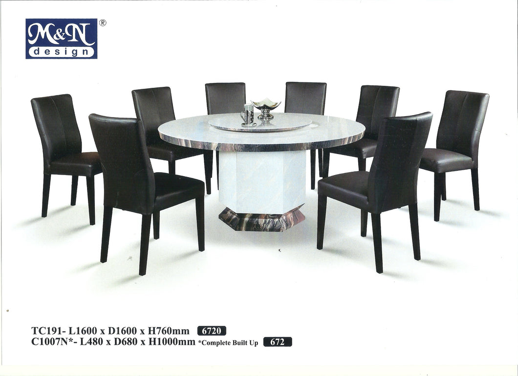 MN-MARBLE DINING TABLE-ROUND-TC191-1.6m
