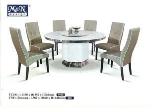 MN-MARBLE DINING TABLE-ROUND-TC191-1.35m