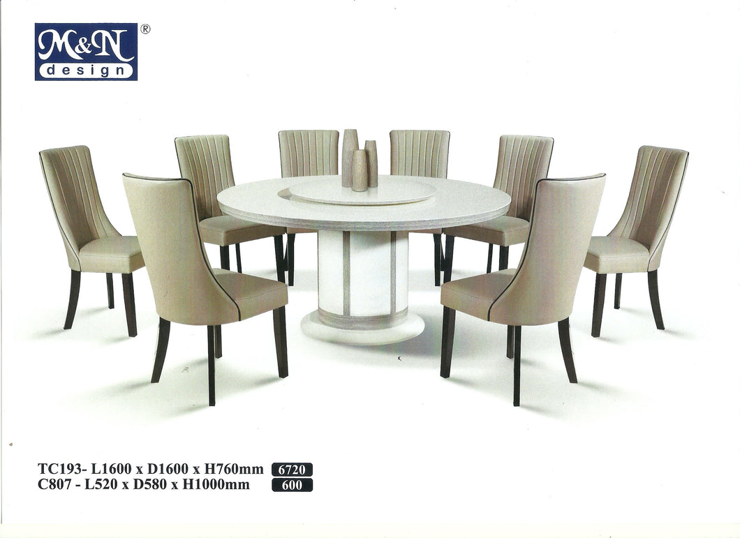 MN-MARBLE DINING TABLE-ROUND-TC193