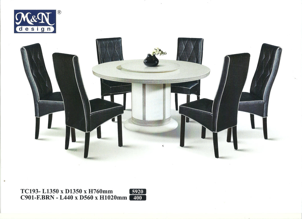 M&N - Marble Dining Table Set - Round - TC193+C901 (1+6)